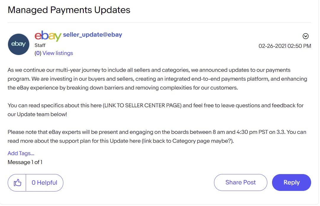 eBay Spring Seller Update Managed Payments Updates