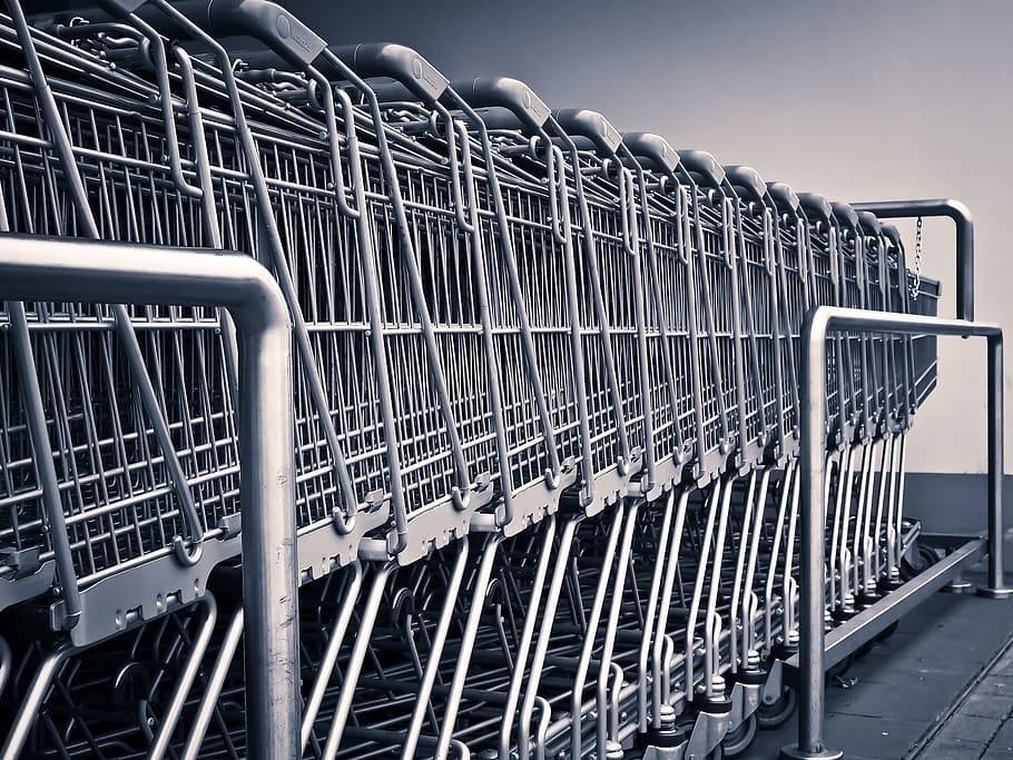 cart, shop, shopping, store, carry, object, shopping cart, metal ...