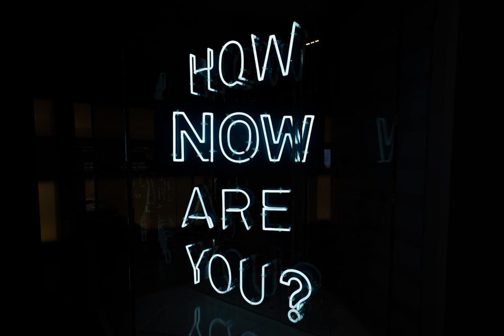 white how now are you? neon light