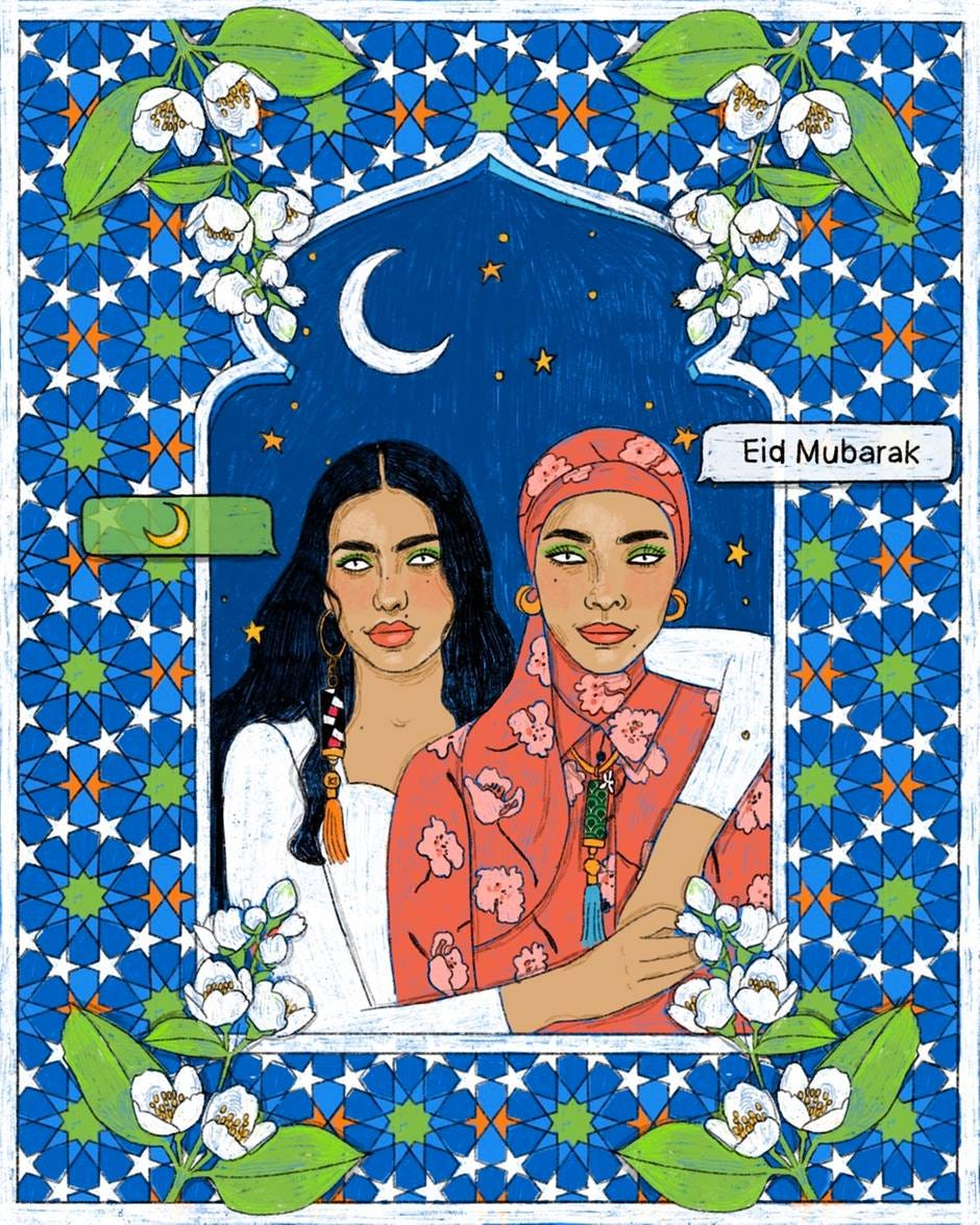 Celebrating women and Eid Al Fitr, the drawings by Nourie Flayan for Carolina Herreraare filled with symbols.Courtesy Carolina Herrera