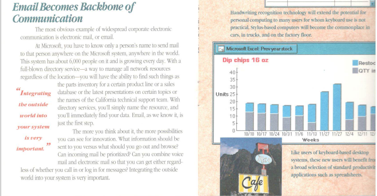 """Excerpt from IAYF brochure """"Email becomes the backbone of communication"""""""