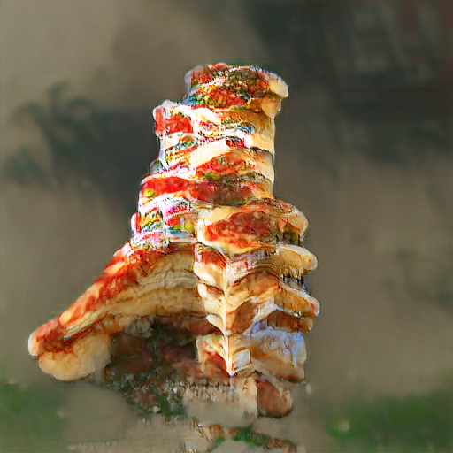 A sloppy pizza-textured pile that's approximately 8 pizza thicknesses tall