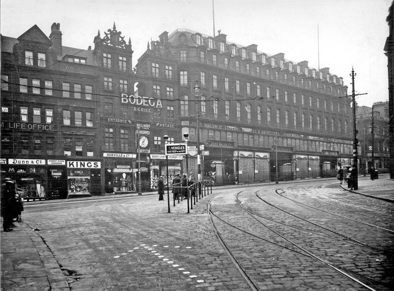 High Street, Sheffield UK - 1920. Every building in the photo was lost to  bombing in the Blitz: Lost_Architecture