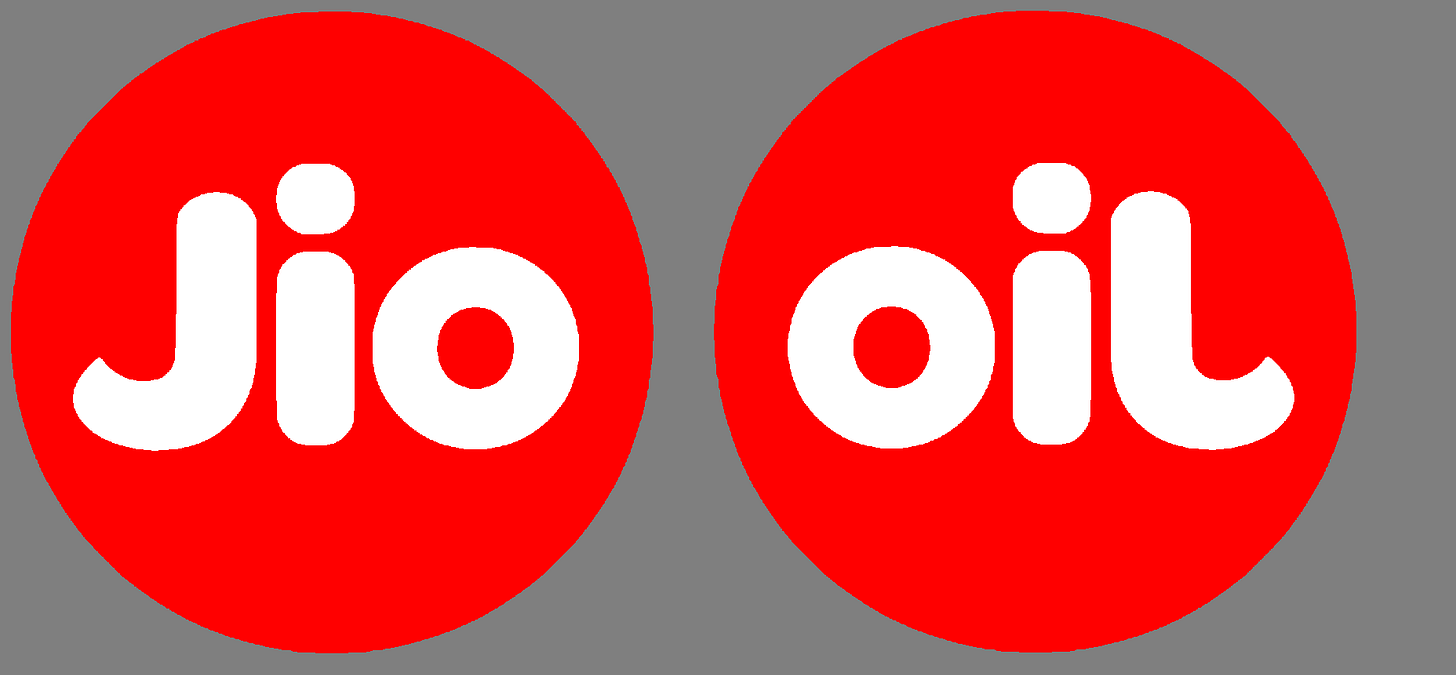 "Realised just today that Jio symbol flipped looks like ""oil ..."