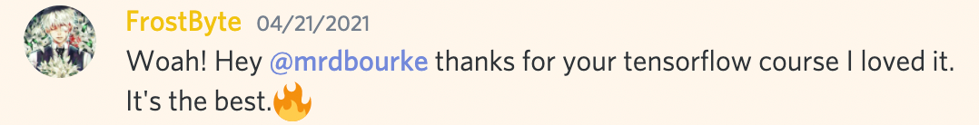 @frostbyte saying thanks for your tensorflow course, it's the best