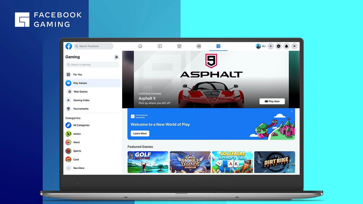 New Facebook Gaming Play destination screenshot