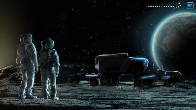 General Motors Co. and Lockheed Martin are partnering to develop a  lunar rover.  This image is a rendering.