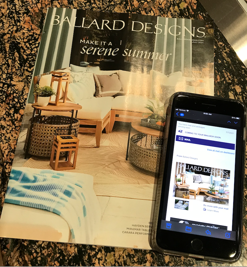 Image of a physical catalog and the Informed Delivery digital image on a smartphone.