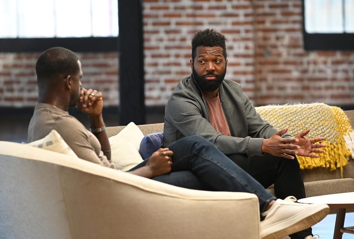 Baratunde gives Sterling K Brown a look