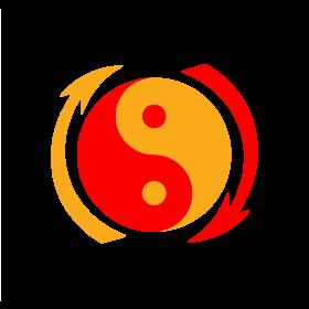 Emblème du jeet kune do. Le taijitu symbolise le concept du yin et yang, et les flèches leurs interactions continuelles. Les caractères signifient : « N'utiliser aucune méthode comme méthode » et « N'avoir aucune limite pour limite ».