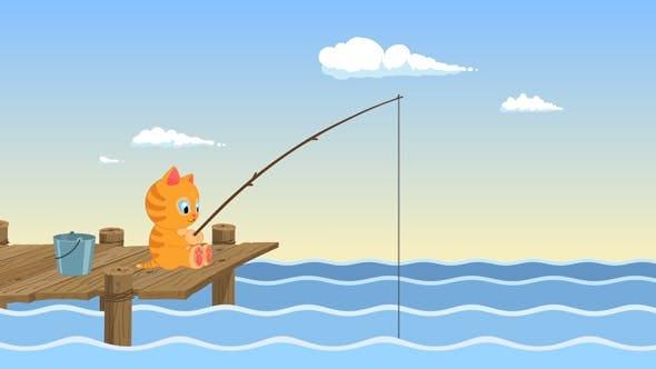 Fishing Cartoon Cat Logo by OrkhanTheStargazer | VideoHive