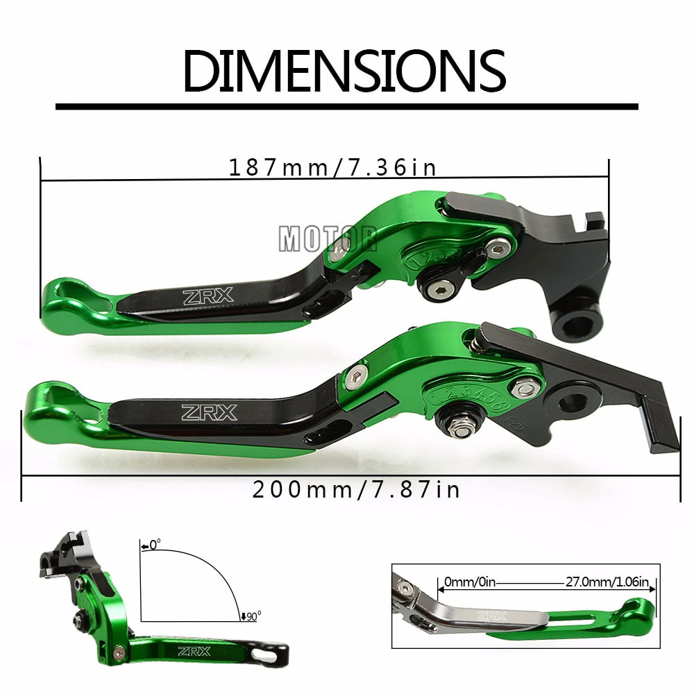 Motorcycle Brake Clutch Levers For Kawasaki ZRX 1200 ZRX1200 1999-2007 CNC Adjustable Folding Extendent Levers Accessories Parts