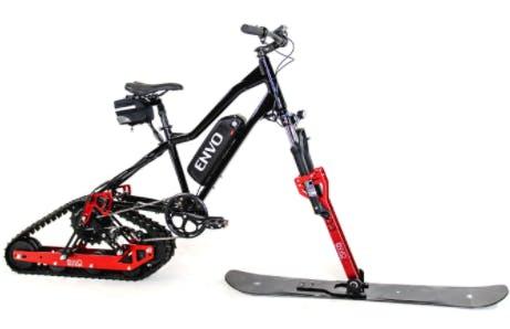 Bike converted to snowmobike