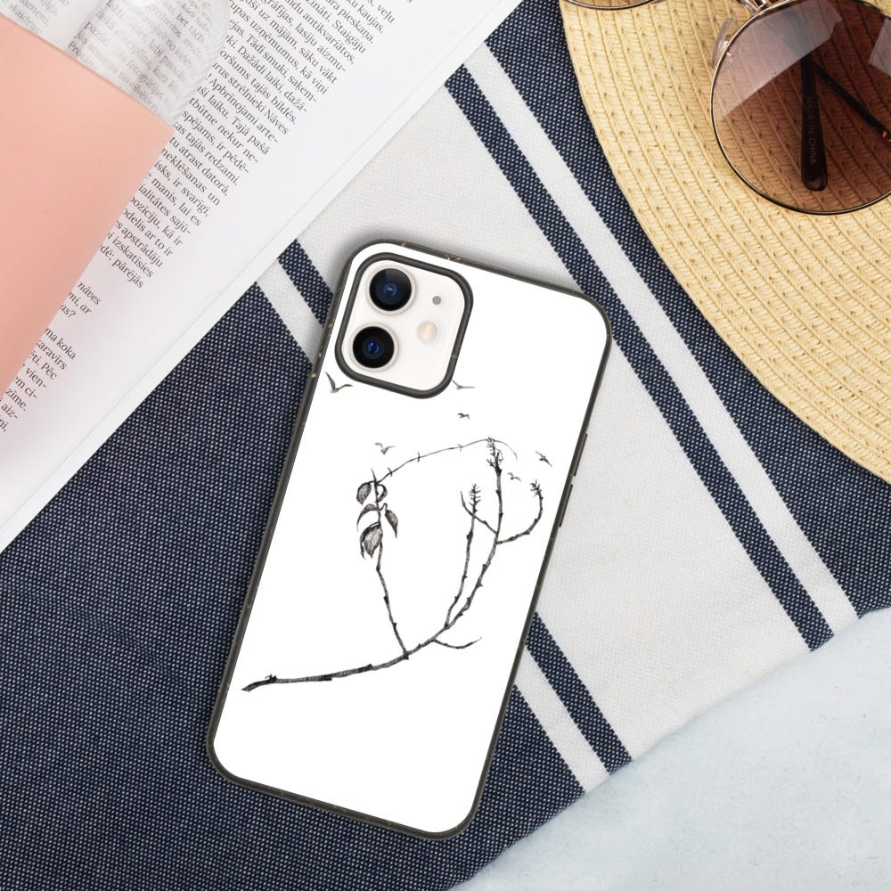 Tree branches and seven birds | Line drawing | Biodegradable phone case