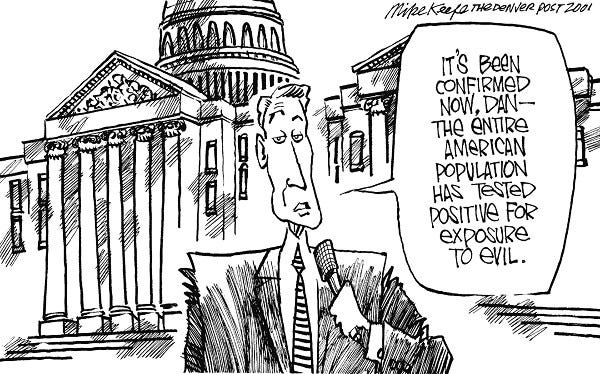 Exposure - Mike Keefe Political Cartoon, 10/21/2001