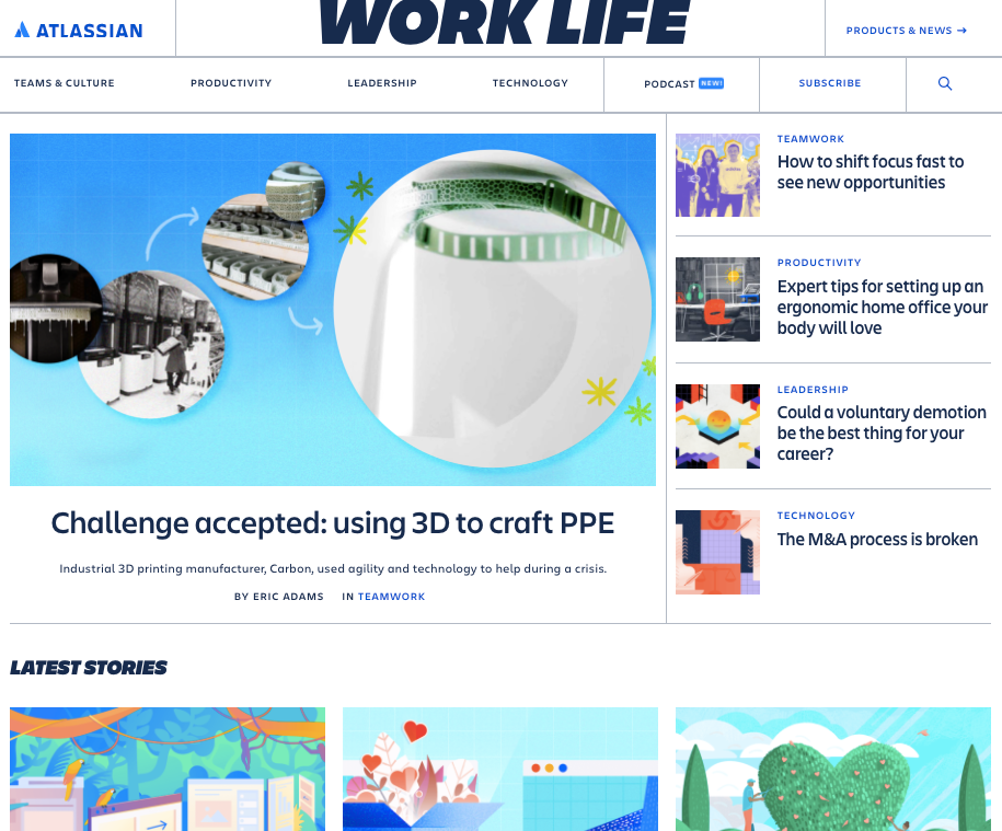 Blog homepage from Atlassian