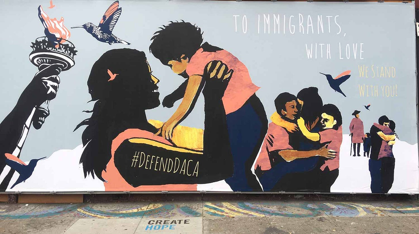 """Justseeds   """"To Immigrants, With Love"""" mural"""