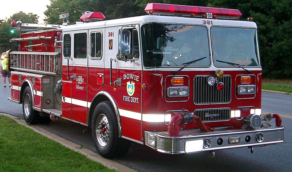 """Fire truck. Not particularly spiky. """"South Bowie Seagrave Fire Truck"""" by Beechwood Photography is licensed under CC BY-NC-SA 2.0"""