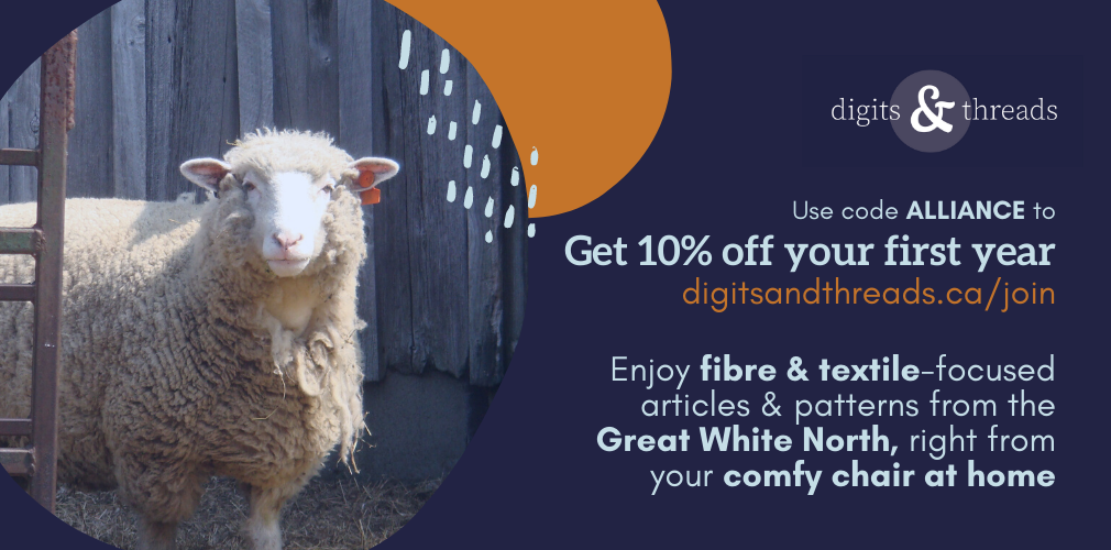 A sheep peers at you along with text introducing Digits & Threads and offering a 10% discount using the code ALLIANCE.