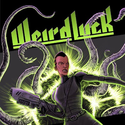 """Cover image for the """"Weird Luck"""" webcomic. The title is displayed over a picture of a woman with close-cropped hair in tight black armor, brandishing a fanciful gun, with tentacles bursting from the background behind her."""