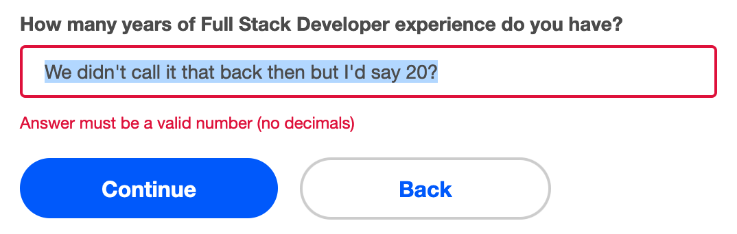 Indeed's humourless modal that won't let me put in non-integers