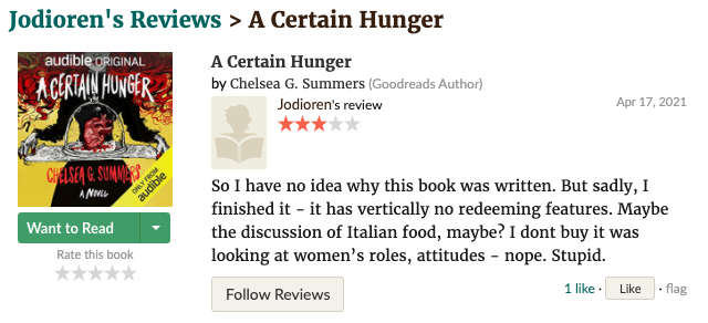 Goodreads review of A Certain Hunger