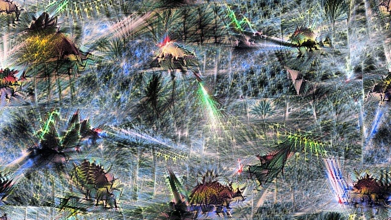 You would have to know they're stegosauruses, but they're definitely spiky, and the air is filled pretty solidly with lasers.