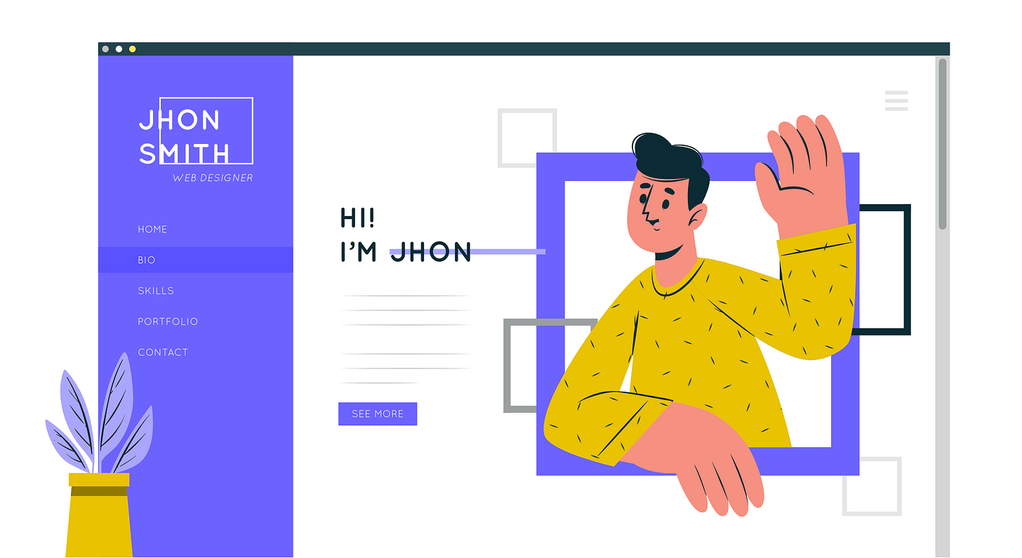 """An image depicts a portfolio site of a fictional designer named """"Jhon Smith,"""" which showcases the designer's friendly personality"""