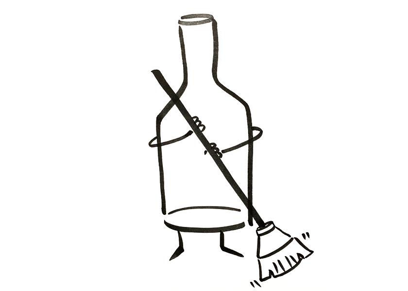 An anthropomorphic wine bottle sweeping the floor
