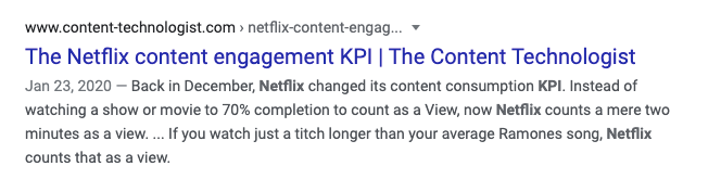 Title and meta description for a successful post as it appears in Google.