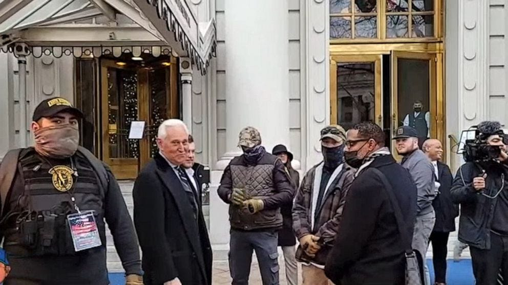 Video surfaces showing Trump ally Roger Stone flanked by Oath Keepers on  morning of Jan. 6 - ABC News