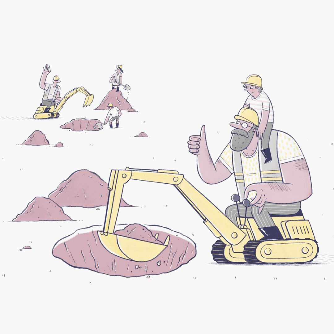 A man sits with his son on a small yellow digger. He waves to another father, digging with his son and daughter in the distance.