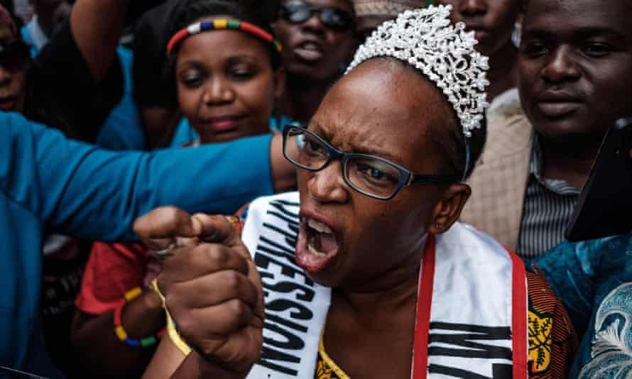Stella Nyanzi leaving court in February.