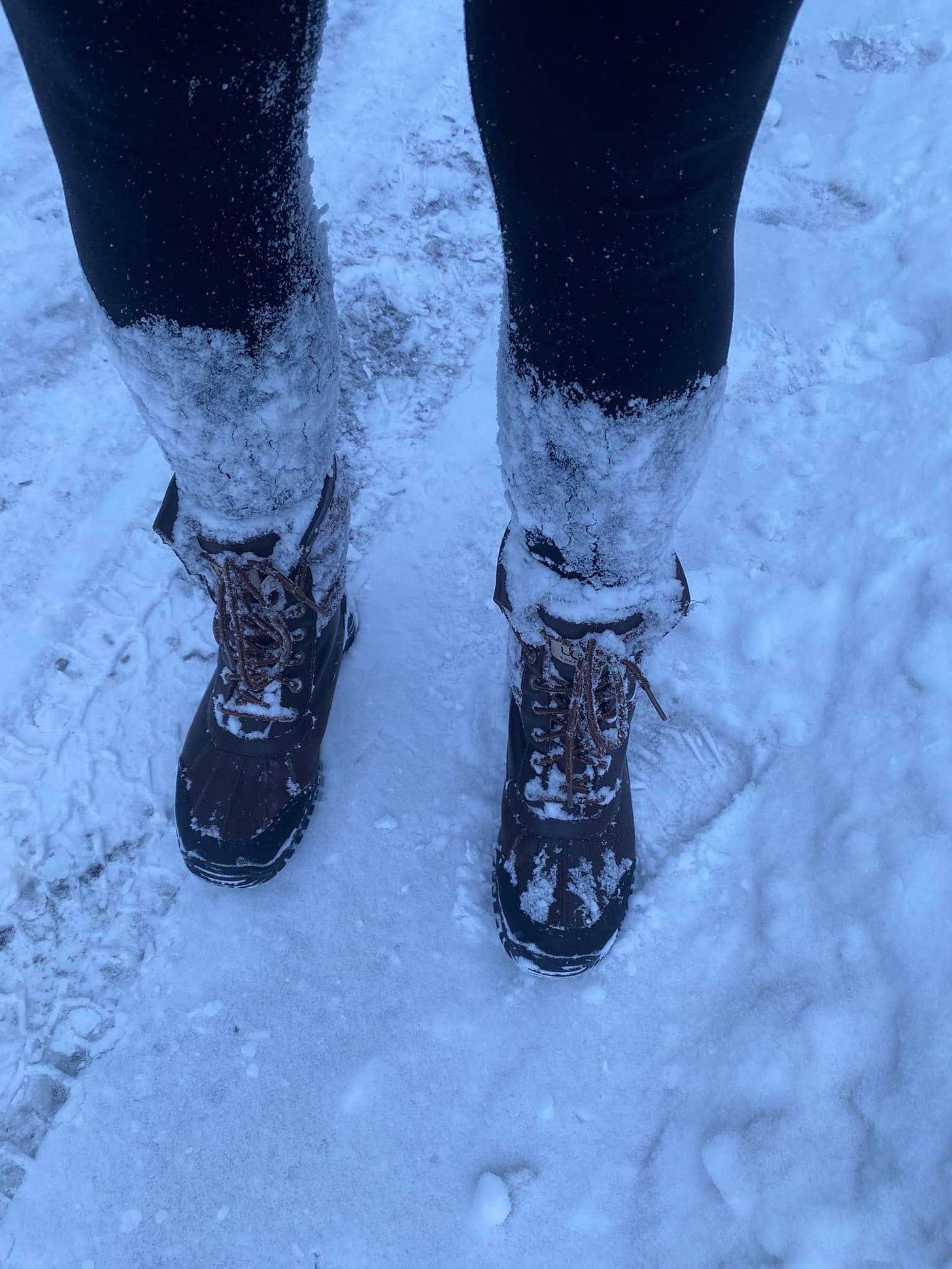 May be an image of footwear and snow