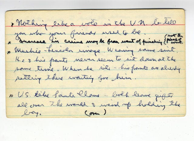 Ronald Reagan's index cards of one-liners - CBS News
