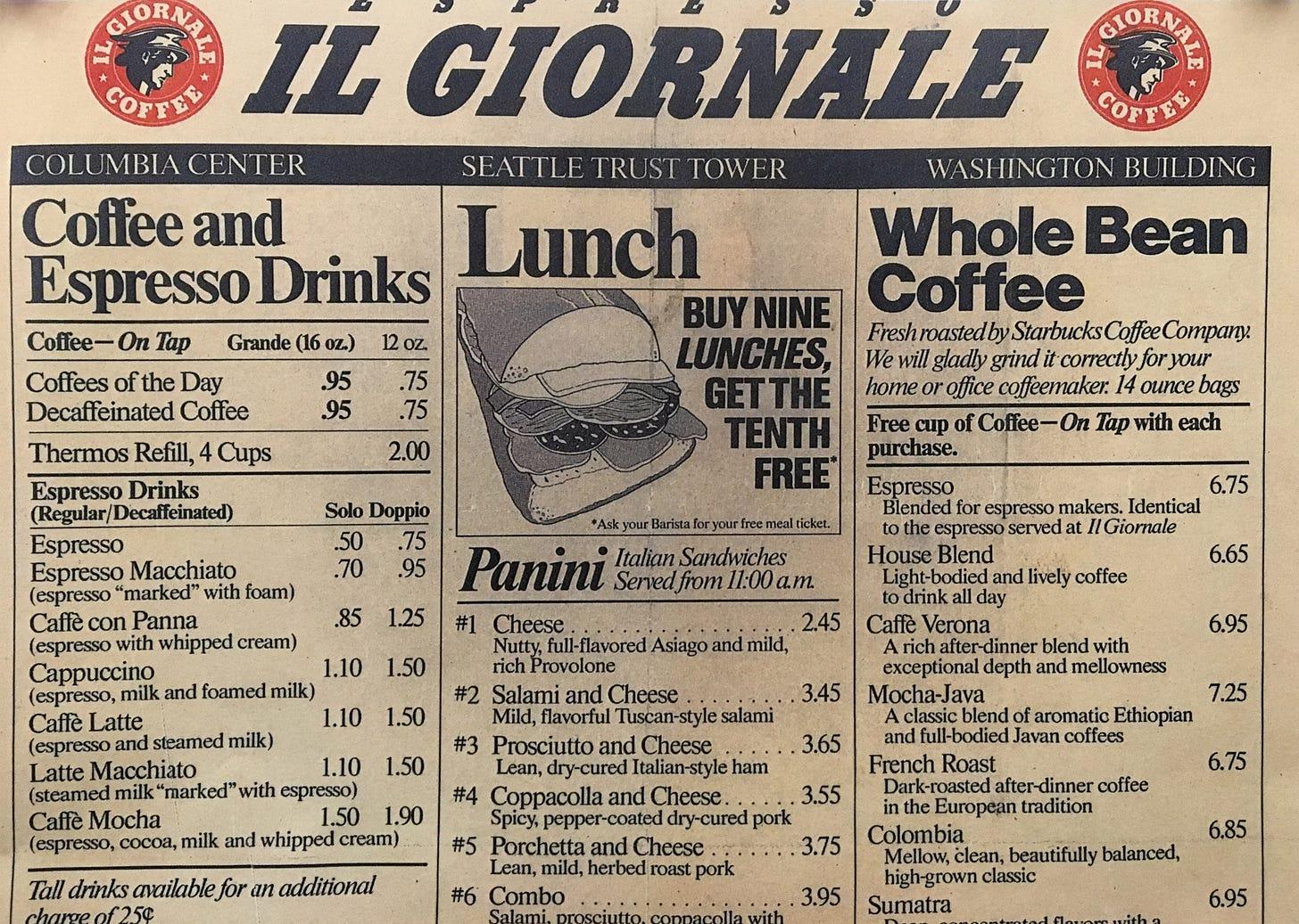 Il Giornale menu