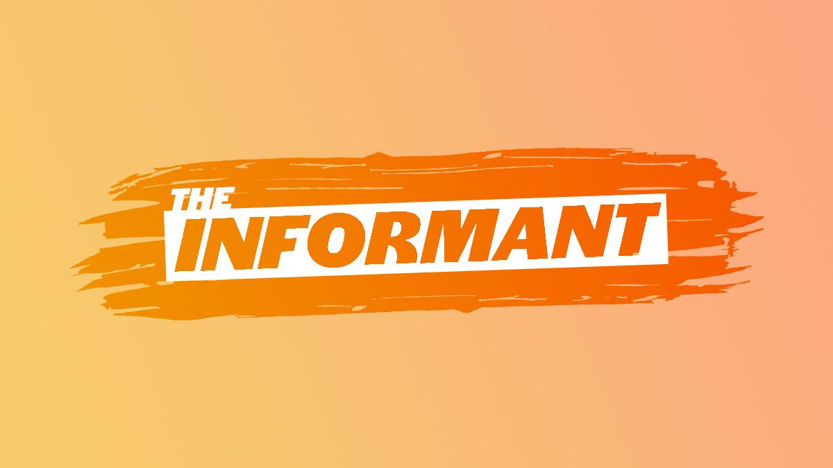 White logo for The Informant on an orange background.