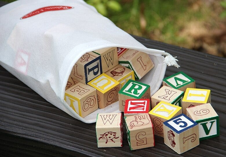 Educational Word Learning Domino 50PCS Constant learning wooden letter block toy, Kids Alphanumeric wood building blocks Toys