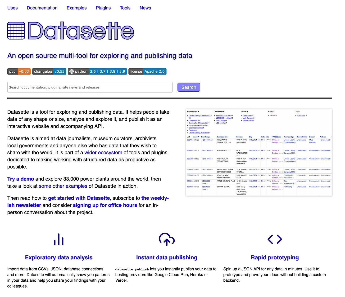 A screenshot of datasette.io