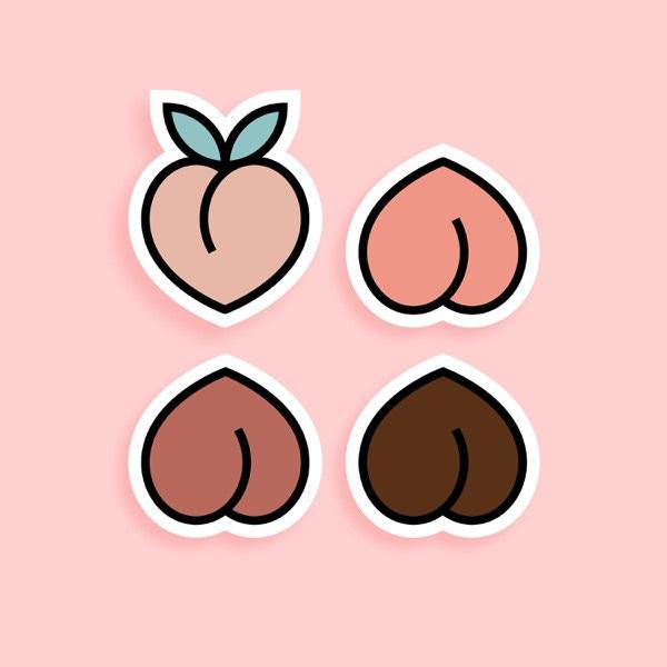 Food 4 Thot artwork. Tegen een roze achtergrond zie je vier getekende variaties op de perzik emoji, maar omgedraaid lijken ze op billen! Ze hebben allemaal een andere kleur 'huidtint'