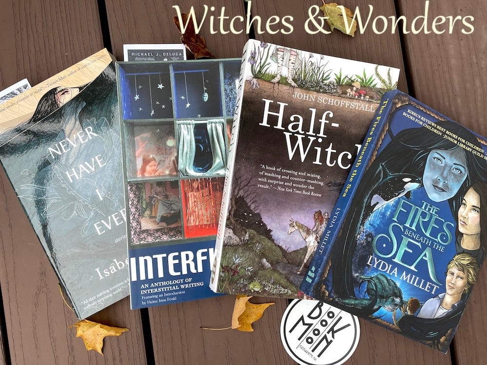 Photo features four books: Never Have I Ever, Interfictions, Half-Witch, and Fires Beneath the Sea