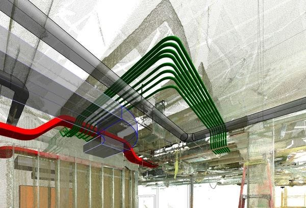 Autorouting Around Point Cloud for Electrical Service Using GenMEP