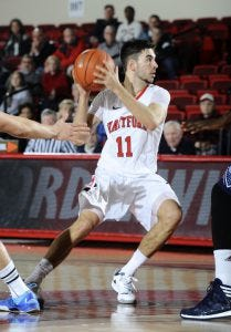 Corban Wroe looking to set up a team-mate - Courtesy University of Hartford