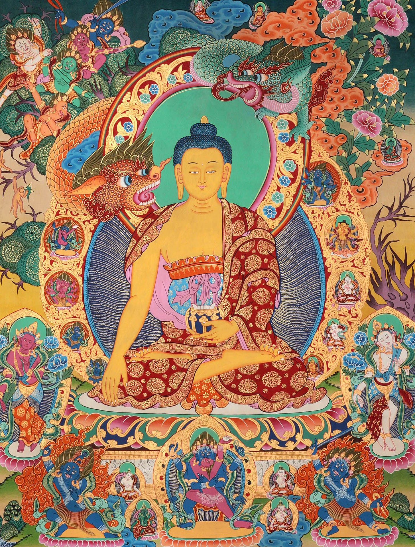 The Temptation of Shakyamuni Buddha by Mara | Buddhism art ...