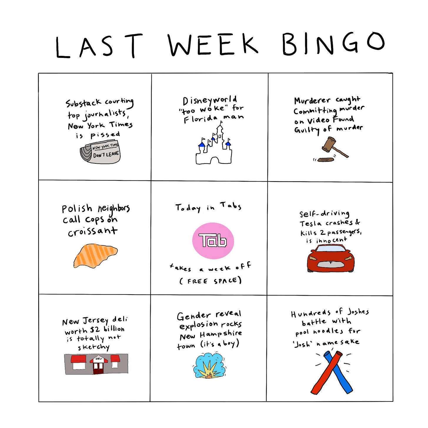 """A bingo card with 9 spaces, 3 columns and 3 rows, titled """"Last Week Bingo"""".  Row 1, from left to right–  Space #1:  """"Substack courting top journalists, New York Times is pissed."""" Accompanying doodle is a New York Times newspaper with the headline """"Don't Leave"""".  Space #2: """"Disneyworld 'too woke' for Florida man."""" Accompanying doodle is of Disneyworld's magic castle.  Space #3: """"Murderer caught committing murder on video found guilty of murder."""" Doodle of a court gavel about to slam down on a block.  Row 2, from left to right– Space #4: """"Polish neighbors call cops on croissant."""" Doodle of a glistening croissant. Space #5: """"Today in Tabs takes a week off (free space)."""" Doodle of Tabs logo in a pink circle. Space #6: """"Self-driving Tesla crashes & kills 2 passengers, is innocent."""" Doodle of a non-threatening Tesla car in burgundy. Row 3, from left to right– Space #7: """"New Jersey deli worth $2 billion is totally not sketchy."""" Doodle of a gray building with 'Deli' signage above the entrance. Space #8: """"Space Gender reveal explosion rocks New Hampshire town (it's a boy)."""" Doodle of an explosion with a cloud of blue smoke.  Space #9: """"Hundreds of Joshes battle with pool noodles for 'Josh' namesake."""" Doodle of A red and blue pool noodle clashing against each other."""