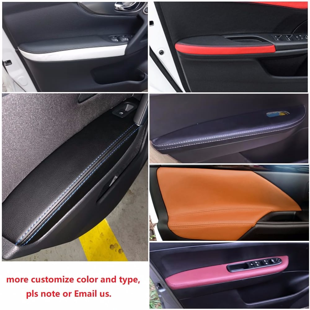 For Honda CRV 2007 2008 2009 2010 2011 Microfiber Leather Door Handle Panels Armrest Covers Protective Trim with Mount Fittings