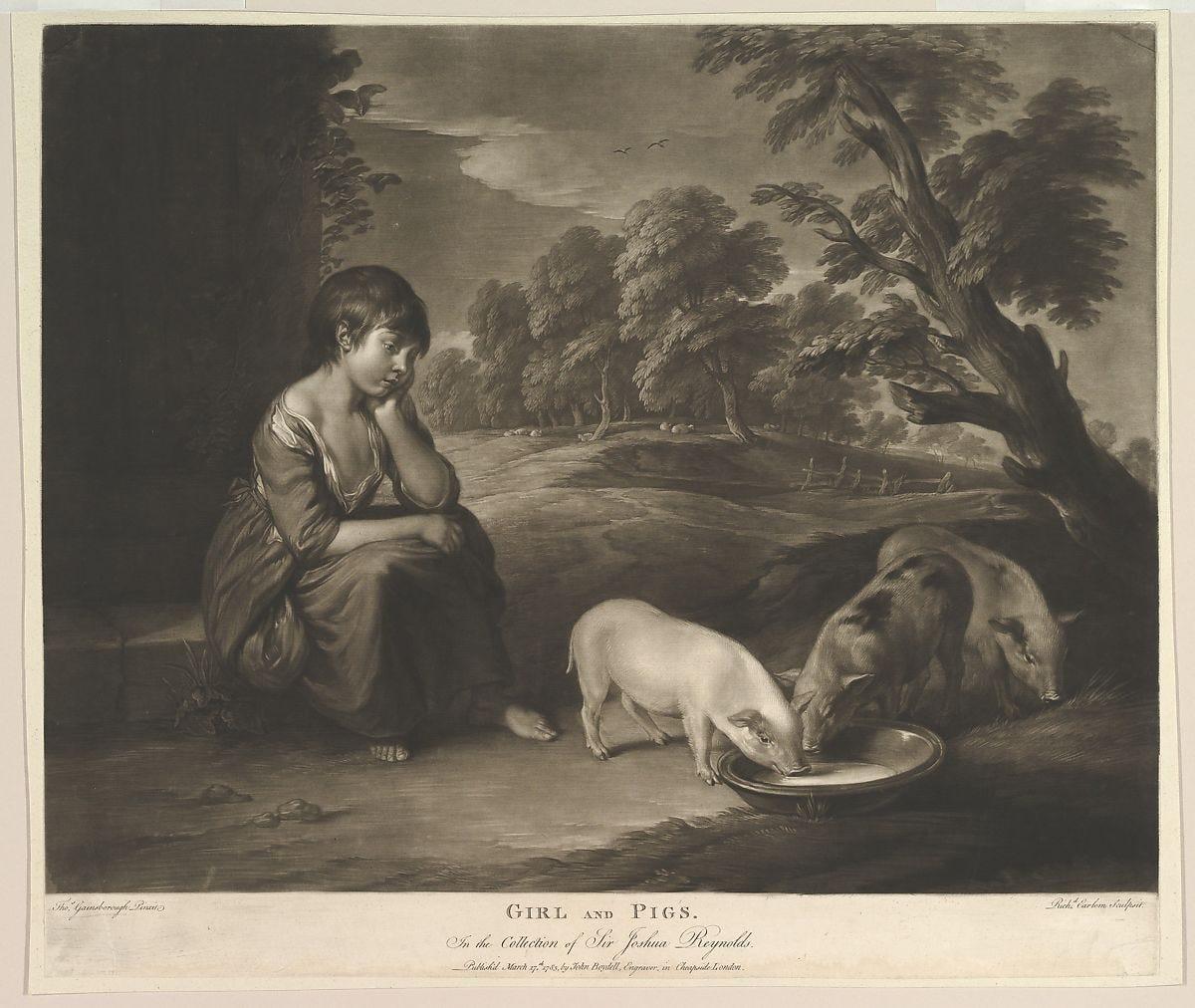 Girl and Pigs, Richard Earlom (British, London 1743–1822 London), Mezzotint