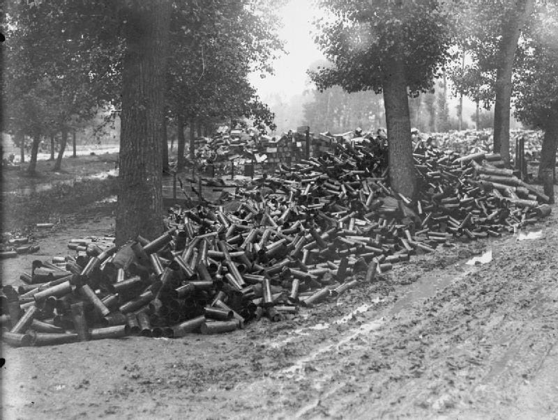 Massive pile of WWI shells