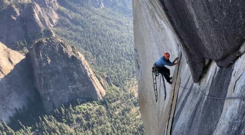 climber on yosemite's dawn wall