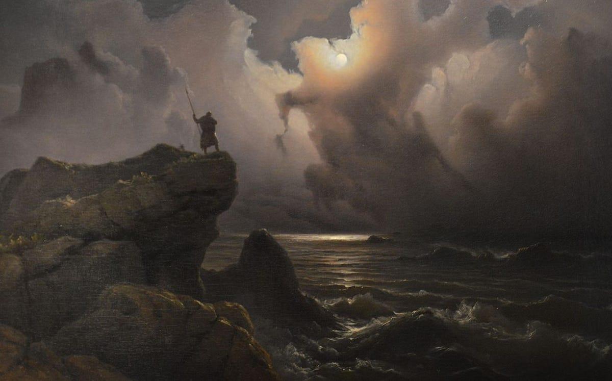 viking gazing across stormy sea